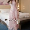 เสื้อผ้าเกาหลีพร้อมส่ง Sakura Pink Netty Maxi Dress