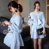 ชุดเดรสเกาหลี พร้อมส่งBlue Sky Lace Flora Off Shoulder Mini Dress