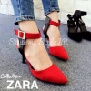 Style Brand Zara หนังวัสดุหนังกลับ แต่งสายรัดข้อยางยืด เข็มขัดรัดข้อปรับระดับให้กระชับได้ ส้นสุง 3 นิ้ว พื้นตี Zara มาพร้อมกล่อง Zara สีดำหรูหรา รุ่นนี้ไม่ได้มีมาบ่อยๆนะคะ ของมีน้อย รีบจองด่วนๆจร้า Size 35 36 37 38 39 40 สี ดำ แดง ขนาด ปกติ ราคา 890฿