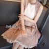 ชุดเดรสเกาหลีพร้อมส่ง Dress ลูกไม้แขนกุด ทรงสวย