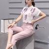 เสื้อผ้าเกาหลี พร้อมส่ง Cat Walk Top + Pinky Pant Set