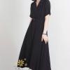 ชุดเดรสเกาหลี พร้อมส่งชุดเดรสผ้าคอนตอน 100% ผ้าไม่ยืด
