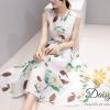 ชุดเดรสเกาหลี พร้อมส่งชุดเดรสแขนกุด ผ้าชีฟองเนื้อนิ่มพิมพ์ลายดอกไม้สีขาว