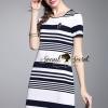 ชุดเดรสเกาหลี พร้อมส่งAnchorry Stripe Chic Dress