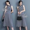 ชุดเดรสเกาหลี พร้อมส่งStrips Silk Cotton Sleeveless Maxi Dress