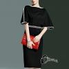 ชุดเดรสเกาหลี พร้อมส่งMini dress สีดำทรงแขนค้างคาวช่วงเอวเย็บตกแต่งคริสตัลสี