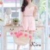 เสื้อผ้าแฟชั่นเกาหลีพร้อมส่ง Jumpsuit คกแต่งดอกไม้3D