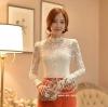 เสื้อผ้าเกาหลี พร้อมส่ง เสื้อลูกไม้สีขาว ดีเทลแขนยาว ผ้าเกรดดีเนื้อนิ่มมาก