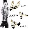 รองเท้าคัชชูหัวแหลม แบรนด์ zara สีเมทัลลิกสุดเก๋ สลับลาย