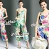 เสื้อผ้าเกาหลี พร้อมส่งSummer Cami Flora Print Cami Playsuite