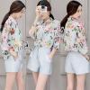 เสื้อผ้าเกาหลี พร้อมส่งBlue Flora Shirt With Shorts Suit Sets