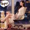 ชุดเดรสเกาหลี พร้อมส่งDress ชุดกระโปรงแขนยาวคอวีสีขาว