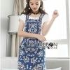 เสื้อผ้าเกาหลีพร้อมส่ง เซ็ตเสื้อยืดสีขาวพร้อมเอี๊ยมกระโปรงผ้าเดนิม