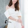 เสื้อผ้าเกาหลี พร้อมส่งset เสื้อสายเดี่ยวสีขาวมุก
