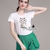 เสื้อผ้าเกาหลี พร้อมส่งcutie owl embroidered white top green lace pants chic set