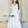 ชุดเดรสเกาหลี พร้อมส่งเดรสผ้าเครปสีขาวปักลายดอกไม้และตกแต่งลูกปัด