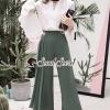เสื้อผ้าเกาหลีพร้อมส่ง Juniper Green Pants Bowwy Tie Bell Sleeve Set