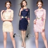 Luxury Emroidered Roses Lace Dress - Mini dress