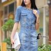 ชุดเดรสเกาหลี พร้อมส่งChanel Pearl Luxury Denim Dress