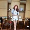 เสื้อผ้าเกาหลีพร้อมส่ง จั้มสูทขาสั้นแขนยาวสีฟ้า