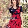 ชุดเดรสเกาหลี พร้อมส่งมินิเดรสปักลายดอกกุหลาบสีแดงสไตล์หวานปรเซ็กซี่