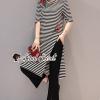 เสื้อผ้าเกาหลีพร้อมส่ง Red Rosy Stripe Chic Set