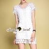 ชุดเดรสเกาหลี พร้อมส่งV Lace Ivory Ladiest Dress