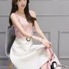 เสื้อผ้าเกาหลี พร้อมส่งDestiny Pastel Pink Top + Pearl Skirt