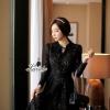 ชุดเดรสเกาหลี พร้อมส่งเดรสลูกไม้ทอลายโทนสีดำ