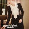 ชุดเดรสเกาหลี พร้อมส่งDotty Apron NeckTie Dress