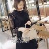 ชุดเดรสเกาหลี พร้อมส่งชุดเดรสโทนสีดำคอกลม