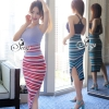 เสื้อผ้าเกาหลี พร้อมส่งElastic Sexy Knit Top With Skirt
