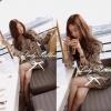 ( พร้อมส่ง) เดรสสีครีมพิมพ์ลายวินเทจ เอวสม้อคผูกโบว์ แบรนด์ Partysu Korea ลุค Vintage ใส่ชิลๆแบบสาวเกาหลีค่ะ