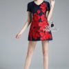 ชุดเดรสเกาหลี พร้อมส่งelegant rose embroidery v neck feminine dress