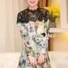 ชุดเดรสเกาหลี พร้อมส่ง Vasely Print Black Lace Dress