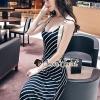 ชุดเดรสเกาหลีพร้อมส่ง Slanting Stripe Maxi Dress