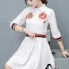 เสื้อผ้าเกาหลี พร้อมส่งเชิ้ตแนวเดรส สีขาวลายใหม่ผลิตออกมาให้ สวยเด่น