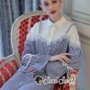 เสื้อผ้าเกาหลีพร้อมส่ง Linny Stripe Blue Sleeve Tie ShirtDress