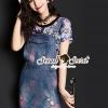 เสื้อผ้าเกาหลี พร้อมส่งChic Stainly Denim Bibby Blossom Blouse Set