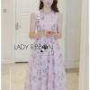 ชุดเดรสเกาหลีพร้อมส่ง เดรสผ้าลูกไม้สีชมพูพาสเทลพิมพ์ลายดอกกุหลาบ
