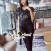 เสื้อผ้าเกาหลี พร้อมส่ง Ladiestly Black Lace Playsuite