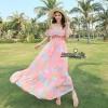 เสื้อผ้าเกาหลี พร้อมส่ง งาน Maxi ผ้าชีฟองเนื้ออย่างดี พิมลายดอกไม้สีสดใส รับ Summer
