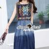 ชุดเดรสเกาหลี พร้อมส่งFashionista Chiffon Graphic Print Denim Skirt Dress