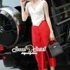 เสื้อผ้าเกาหลี พร้อมส่งCoral Red Pants Cami Set