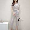 เสื้อผ้าเกาหลี พร้อมส่งPastel Grey Top + Pant Elegant Set