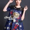 เสื้อผ้าเกาหลี พร้อมส่งD&G Style Embroider Denim Dress