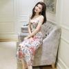 ชุดเดรสเกาหลี พร้อมส่งแมกซี่เดรสทรงแขนกุด ดีไซน์ผ้าซีทูปักดอกไม้ทั้งชุด