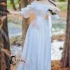 ชุดเดรสเกาหลี พร้อมส่งlong dress สีขาว ผ้า cotton ทรงยางยืดปาดไหล่