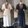 ชุดเดรสเกาหลีพร้อมส่ง Dress style Korea เดรส แขนตุ๊กตาแต่งปัก