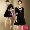 ชุดเดรสเกาหลี พร้อมส่งDress สีดำคอวีเย็บแต่งขอบช่วงคอด้วยลายผ้า